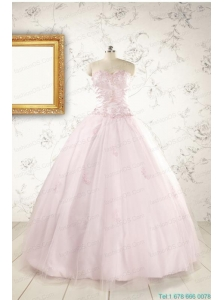 2015 Pretty Appliques Light Pink Quinceanera Dresses