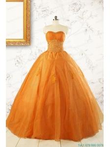 2015 Princess Orange Quinceanera Dresses with Appliques