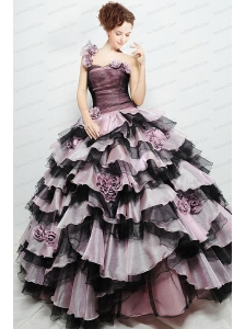 Cheap One Shoulder Ruffled Layers and Hand Made Flower Sweet 16 Dress