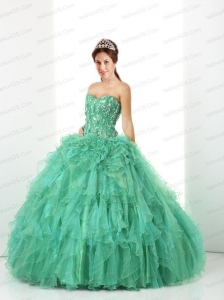 Fashionable Green Sweet 16 Dress For 2014  with Ruffles and Beading