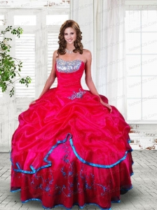 2015 Affordable Strapless Coral Red Quinceanera Dresses with Beading and Appliques