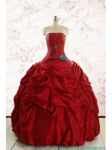 2015 Cheap Strapless Quinceanera Dresses with Beading