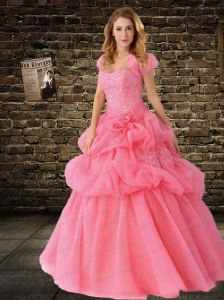 2015 Custom Made Strapless Beading and Sequins Pink Quinceanera Dres