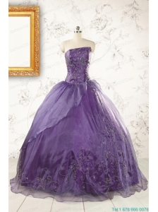 2015 Discount Purple Strapless Appliques Quinceanera Dresses