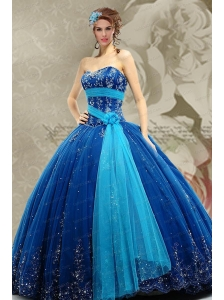 2015 Top Seller Sweetheart Blue Quinceanera Dress with Beading and Appliques