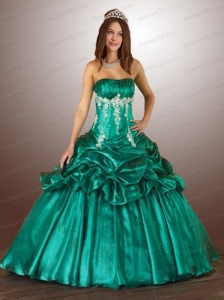 Beading Green Appliques Quinceanera Dress with Pick Ups