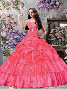 Custom Made A-line Strapless Pick-ups and Ruffles Watermelon Red Sweet 16 Dresses for 2015