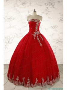 Elegant Red Strapless Quinceanera Dresses for 2015