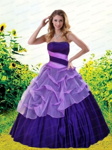 Fashionable Strapless Pick-ups Quinceanera Dress in Purple