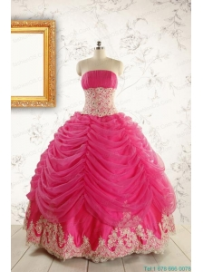 Luxurious Lace Appliques 2015 Quinceanera Gowns in Hot Pink