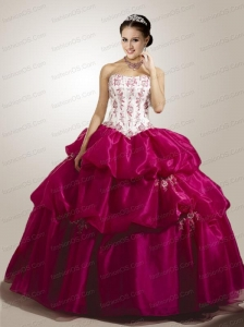Modern Appliques Quinceanera Dress in White and Fuchsia with Pick Ups