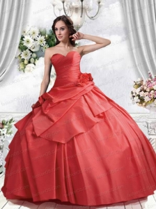 New Sweetheart Coral Red Quinceanera Dresses with Hand Made Flower
