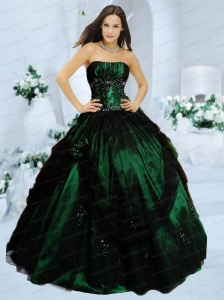 Popular Strapless Dark Green Quinceanera Dresses with Appliques and Hand Made Flower