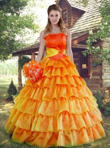 Remarkable A-line Ruffled Layers Orange Red Quinceanera Dress