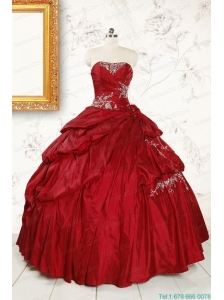Wine Red Appliques Sweetheart 2015 Quinceanera Dress