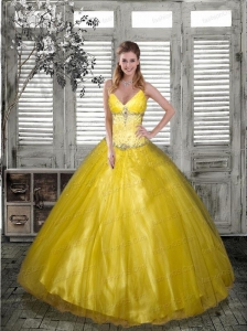 2015 Affordable V-Neck Yellow Quinceanera Dresses with Beading