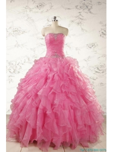 2015 Ball Gown Organza Quinceanera Dresses with Beading and Ruffles