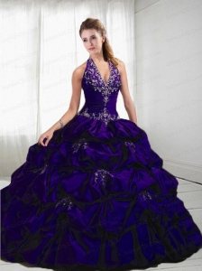 2015 Brand New Ball Gown Halter Top Purple Quinceanera Dresses