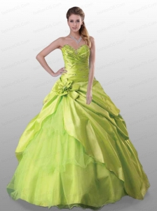 2015 Gorgeous Sweetheart Yellow Green Quinceanera Dresses with Beading