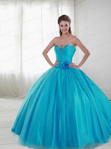 2015 New Style Sweetheart Aqua Blue Quinceanera Gown with Hand Made Flower and Beading