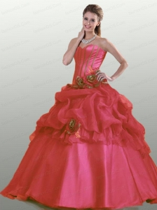 2015 Popular Strapless Coral Red Quinceanera Dresses with Hand Made Flowers and Ruffles