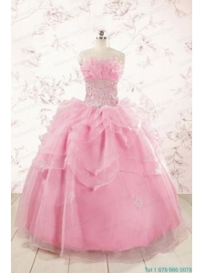 2015 Pretty Appliques Baby Pink Quinceanera Dresses
