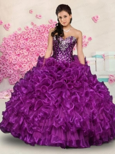 Brand New Eggplant Beading and Ruffles Purple Quinceanera Dresses