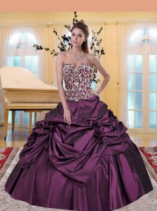Classical Appliques and Hand Made Flowers Purple Quinceanera Dress For 2015