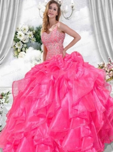 Classical Sweetheart Beading and Ruffles Quinceanera Dresses in Hot Pink For 2014