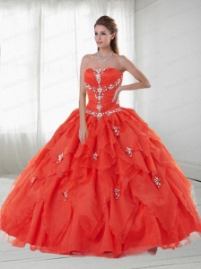Customize Strapless Appliques and Ruffles Red Quinceanera Dresses For 2015