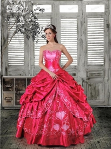 Discount Sweetheart Appliques and Pick Ups Coral Red Quinceanera Dress