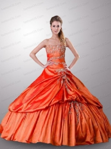 Exclusive Beading and Pick-ups Quinceanera Dress in Orange Red