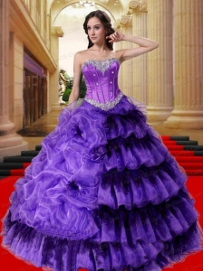 Luxurious Sweetheart  Beading and Ruffles Quinceanera Dress in Purple