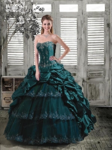Luxurious Sweetheart Turquoise Quinceanera Dress with Appliques and Pick Ups