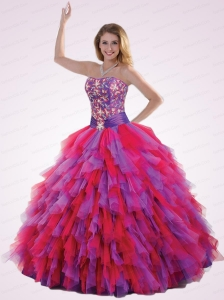 New Arrival Strapless Ruffles and Beading Quinceanera Dresses in Red and Purple