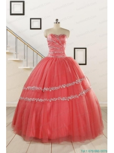 New Style Watermelon Quinceanera Dresses with Beading for 2015