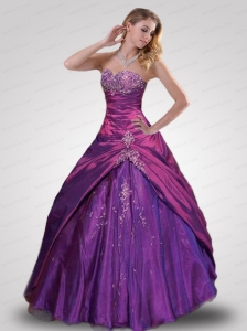 The Most Popular Appliques Sweet 15 Dress in Purple For 2014