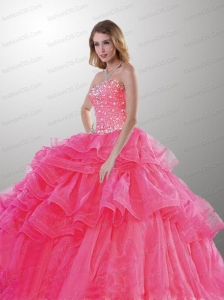 The Super Hot Strapless Hot Pink Quinceanera Dress with Beading and Ruffled Layers