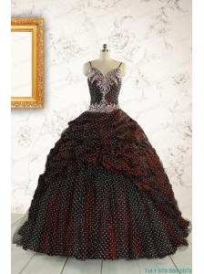 Wonderful Spaghetti Straps Appliques Sweet 15 Dresses in Burgundy
