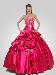 Wonderful Strapless Red Quinceanera Gown with Appliques
