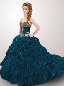 2015 Classical Blue Court Train Quinceanera Dress with Beading