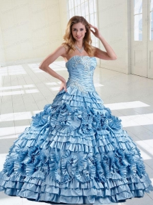 2015 Customize Light Blue Ruffled Layers and Appliques Quinceanera Dress