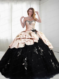2015 Exclusive Sweetheart Appliques Pink and Black Quinceanera Dresses