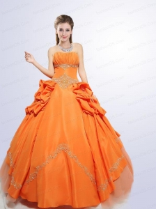 2015 Wonderful Orange Quinceanera Dress with Appliques