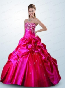 Beautiful Hot Pink Sweet 16 Dress with Appliques and Pick Ups