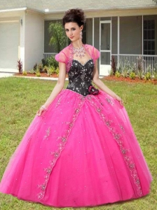 Best Selling Appliques and Sequines Quinceanera Dresses in Black and Pink