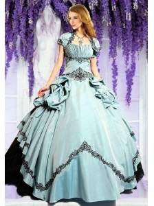 Brand New Light Blue and Black Quinceanera Dresses with Appliques for 2015