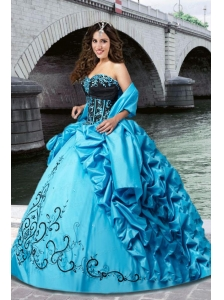 Cheap Sweetheart Embroidery Quinceanera Dress in Blue and Black with Beading and Pick Ups