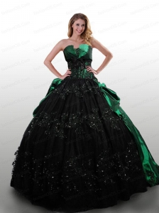 Exquisite Green and Black Dress For Quinceanera with Appliques