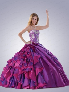 Gorgeous Strapless Appliques and Ruffles Quinceanra Dress in Purple